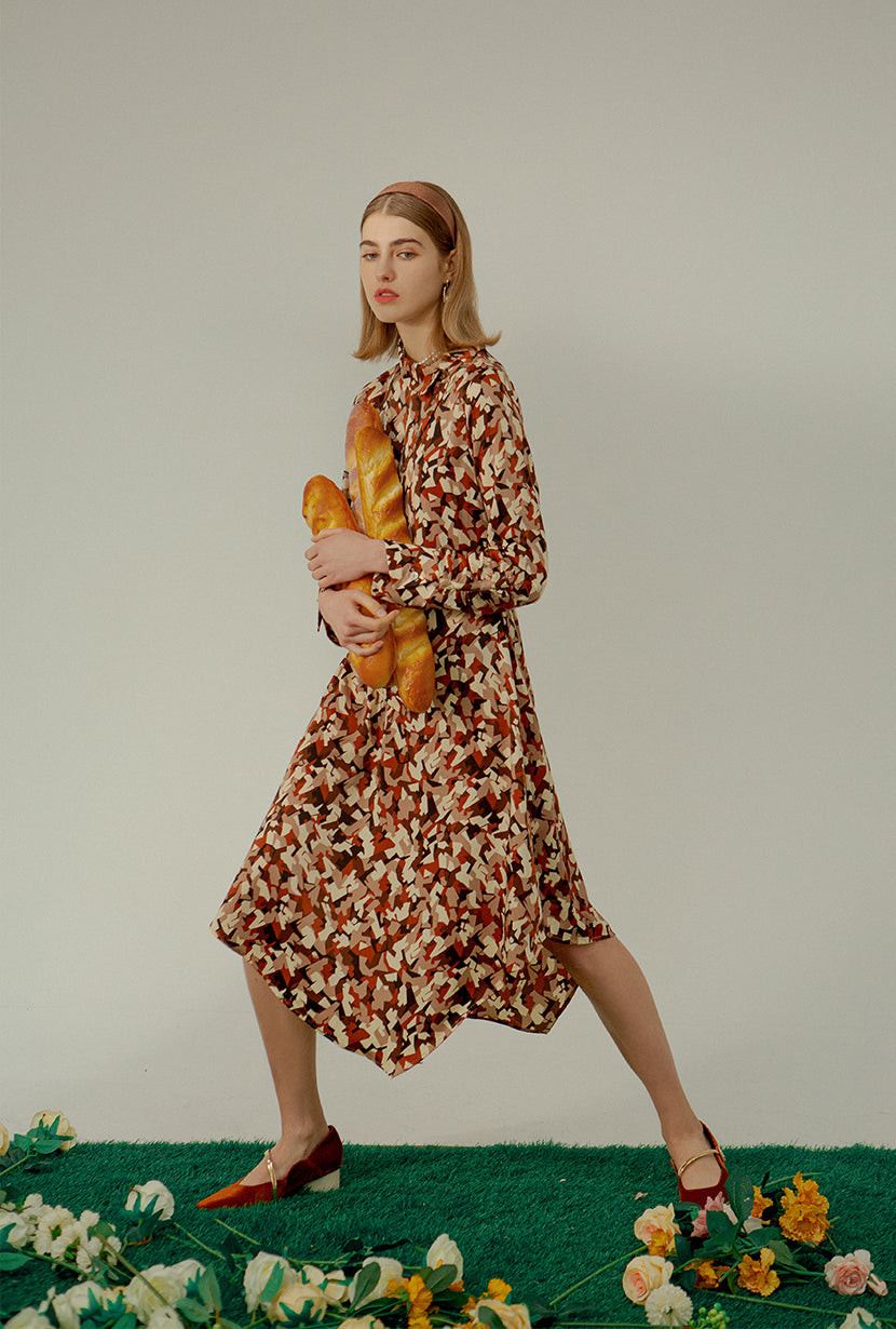 Alexa Dress - Abstract Print - Oblique button down shirt dress - Petite Studio NYC