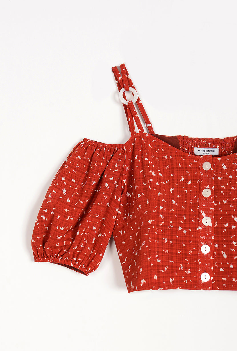 Amie Top - Red Print - red button down off shoulder cropped top with adjustable shoulder straps, sweet heart neckline and puff short sleeve - Petite studio NYC