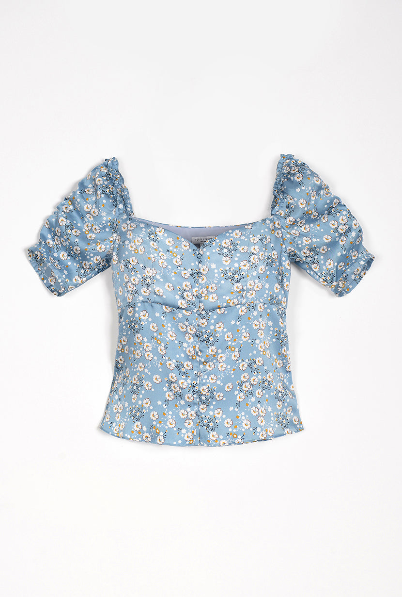 Houston Top - Blue Flora - button down top with floral print and sweet heart neckline - Petite studio NYC
