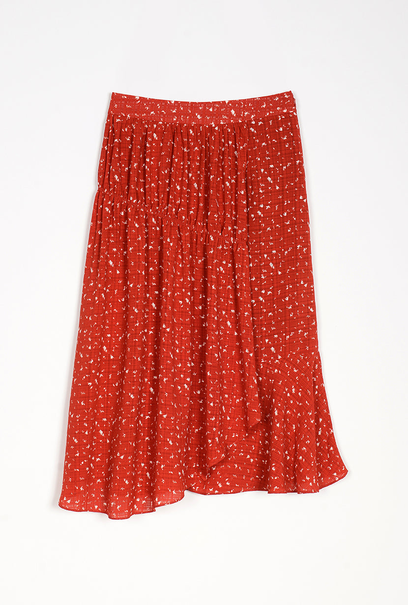 Chloe Skirt - Red Print - red printed maxi skirt with asymetrical layers - Petite Studio NYC