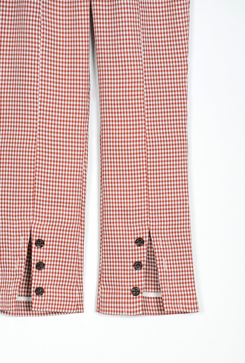 Kayla Pants - Red Gingham - slim fit flare pant with red gingham print and double adjustable belts at waist - Petite Studio NYC