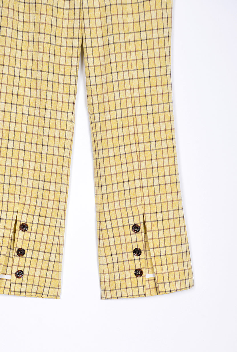 Kayla Pants - Yellow Gingham - slim fit flare pant with yellow gingham print and double adjustable belts at waist - Petite Studio NYC