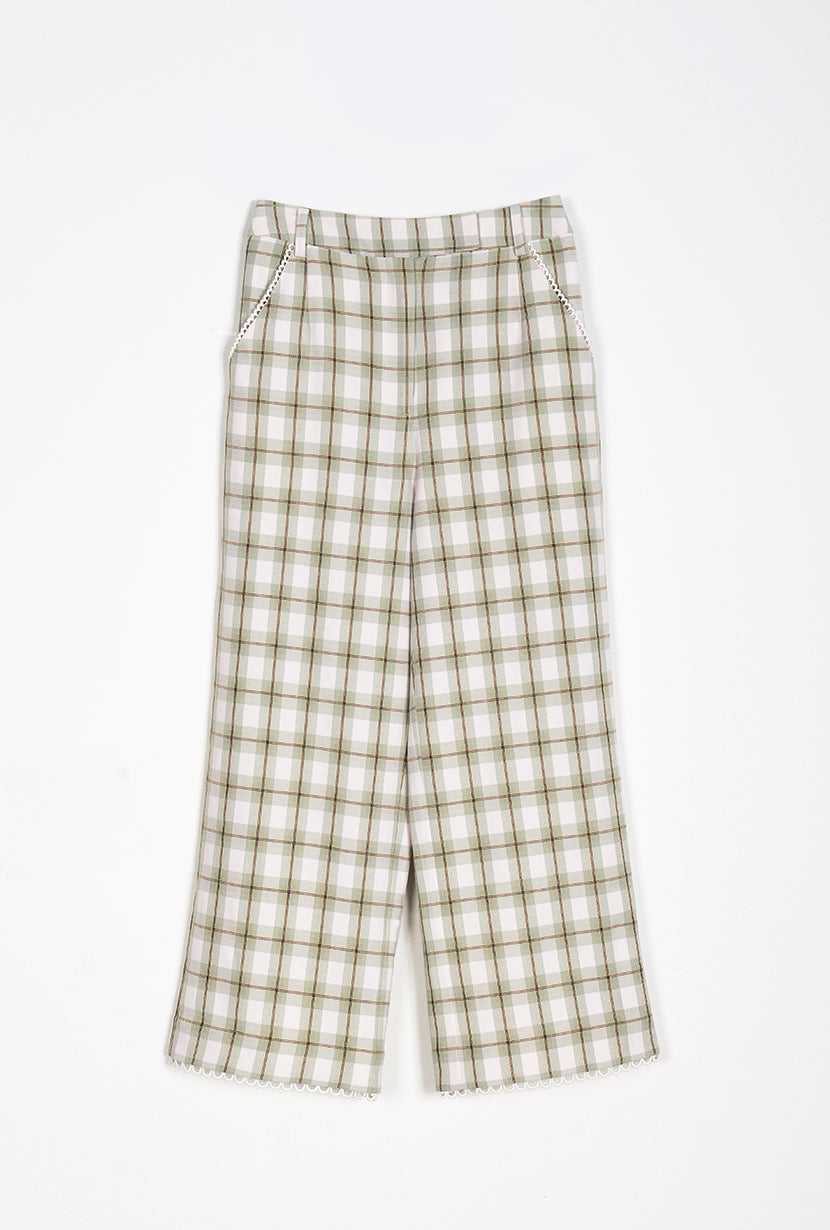 Augustine Pants  -  Mint Gingham - slim mint green pants with lace trimming at pocket sides and hem - Petite Studio NYC
