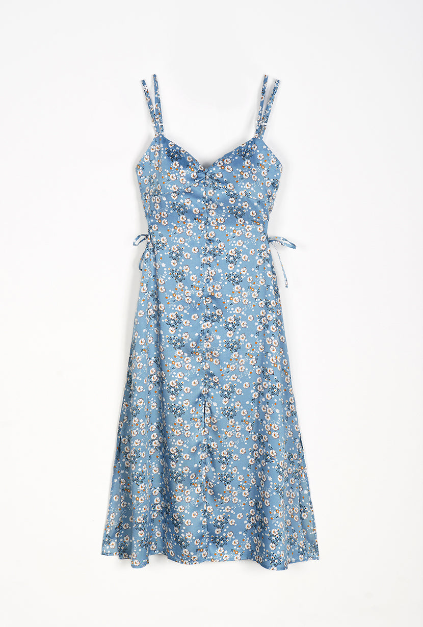 Gracie Dress -  Blue Floral - blue floral maxi dress with adjustable spaghetti straps - Petite Studio NYC