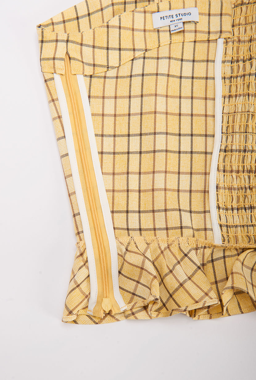 Orlando Top - Yellow Gingham - Yellow Gingham tank top with ruffle hem and shoulder and vintage tie closure - Petite studio NYC