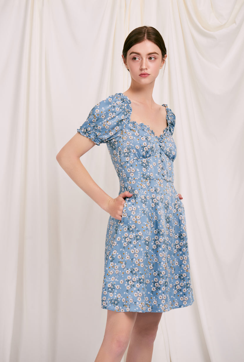 Maisy Dress - Blue Floral - blue floral flared mini dress with sweetheart neckline and ruffle at neckline and sleeve - Petite Studio NYC
