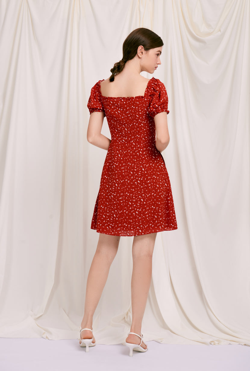 Maisy Dress - Red Print  - red printed flared mini dress with sweetheart neckline and ruffle at neckline and sleeve - Petite Studio NYC