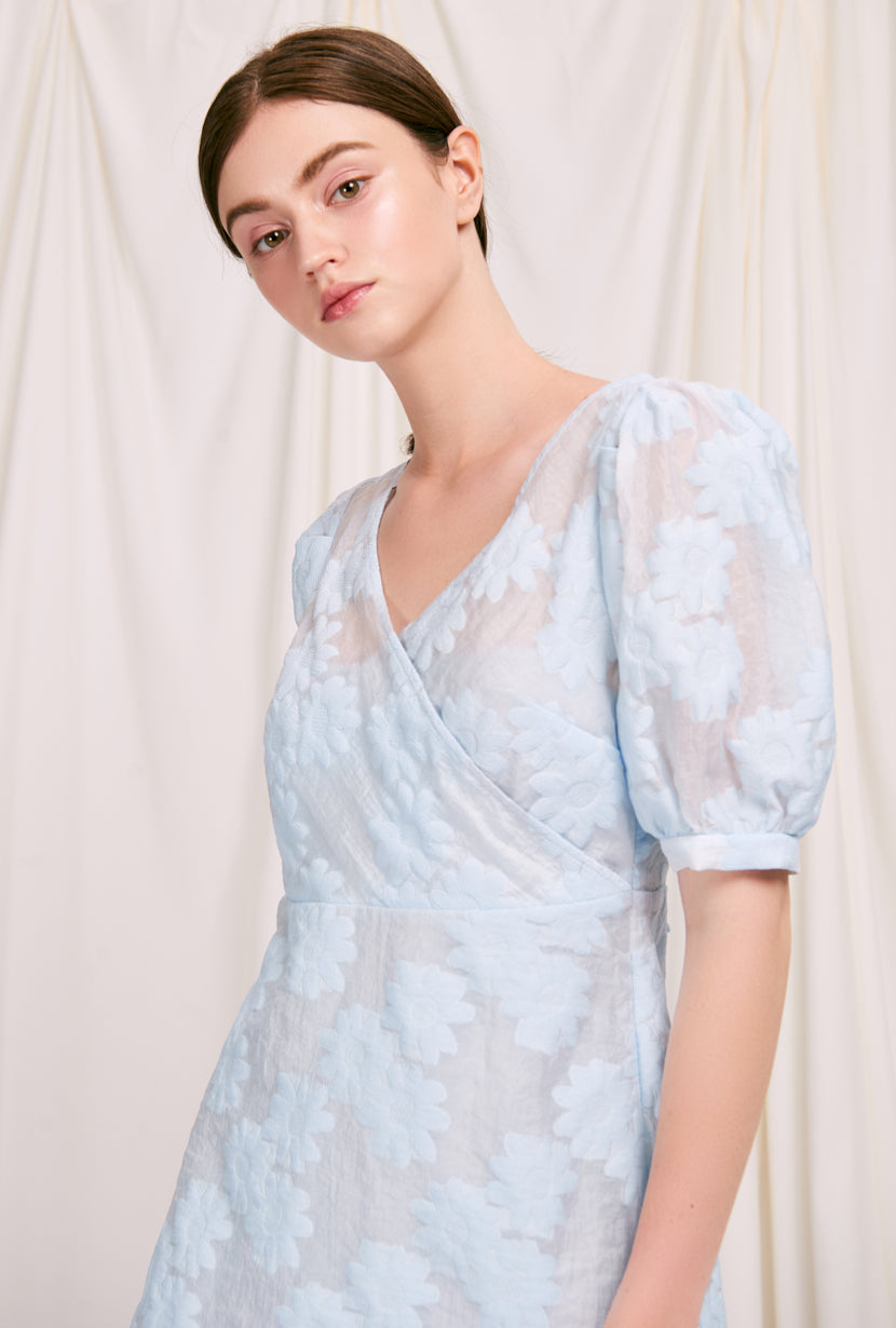 Berlin Dress - Sky - sky blue 2 piece in 1 maxi dress made by organza with puff mid sleeve and balck ribbon tie closure - Petite Studio NYC