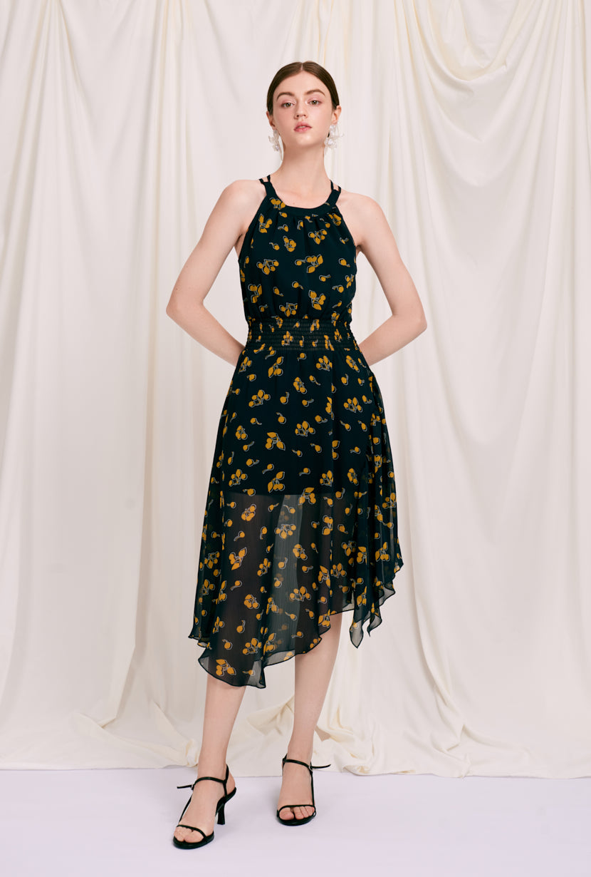 Rio Dress - Navy Lemon - navy lemon printed maxi dress with halter neck, smocked waist and crossover adjustable straps at back - Petite Studio NYC