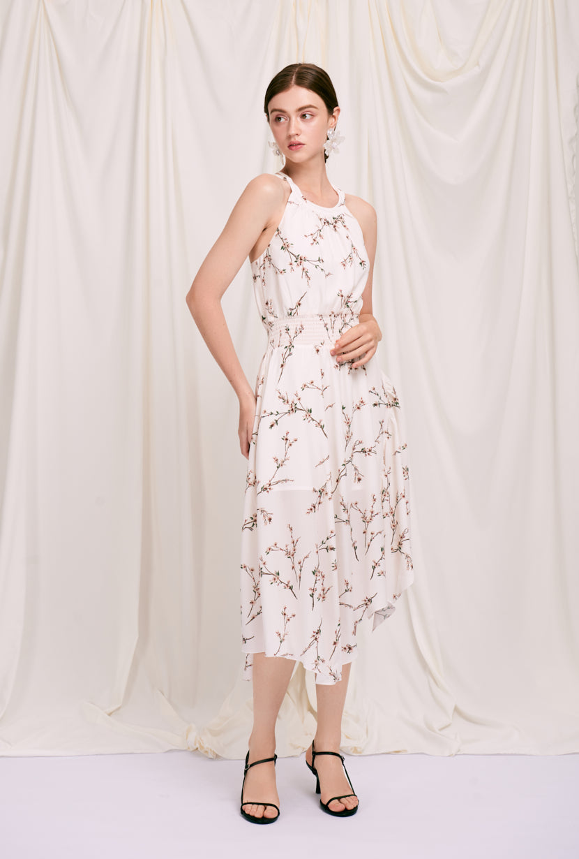 Rio Dress - Ivory Spring - Ivory floral printed maxi dress with halter neck, smocked waist and crossover adjustable straps at back - Petite Studio NYC