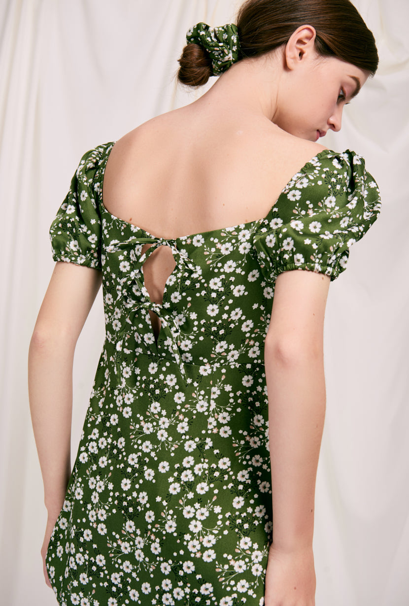 Adelaide Dress - Green Floral -  Green Floral - green floral maxi dress with puff sleeves and back ribbon closure - Petite Studio NYC