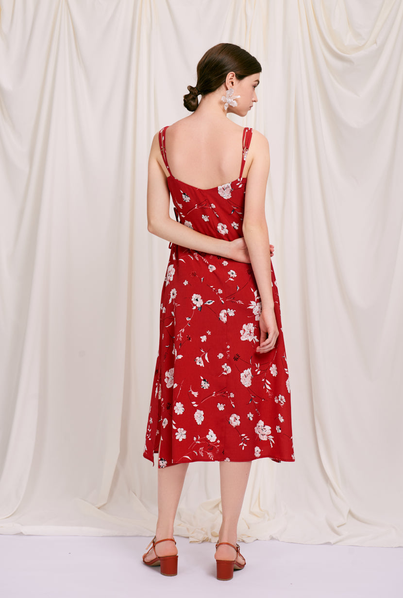 Gracie Dress -  Red Blooms - red floral maxi dress with adjustable spaghetti straps - Petite Studio NYC