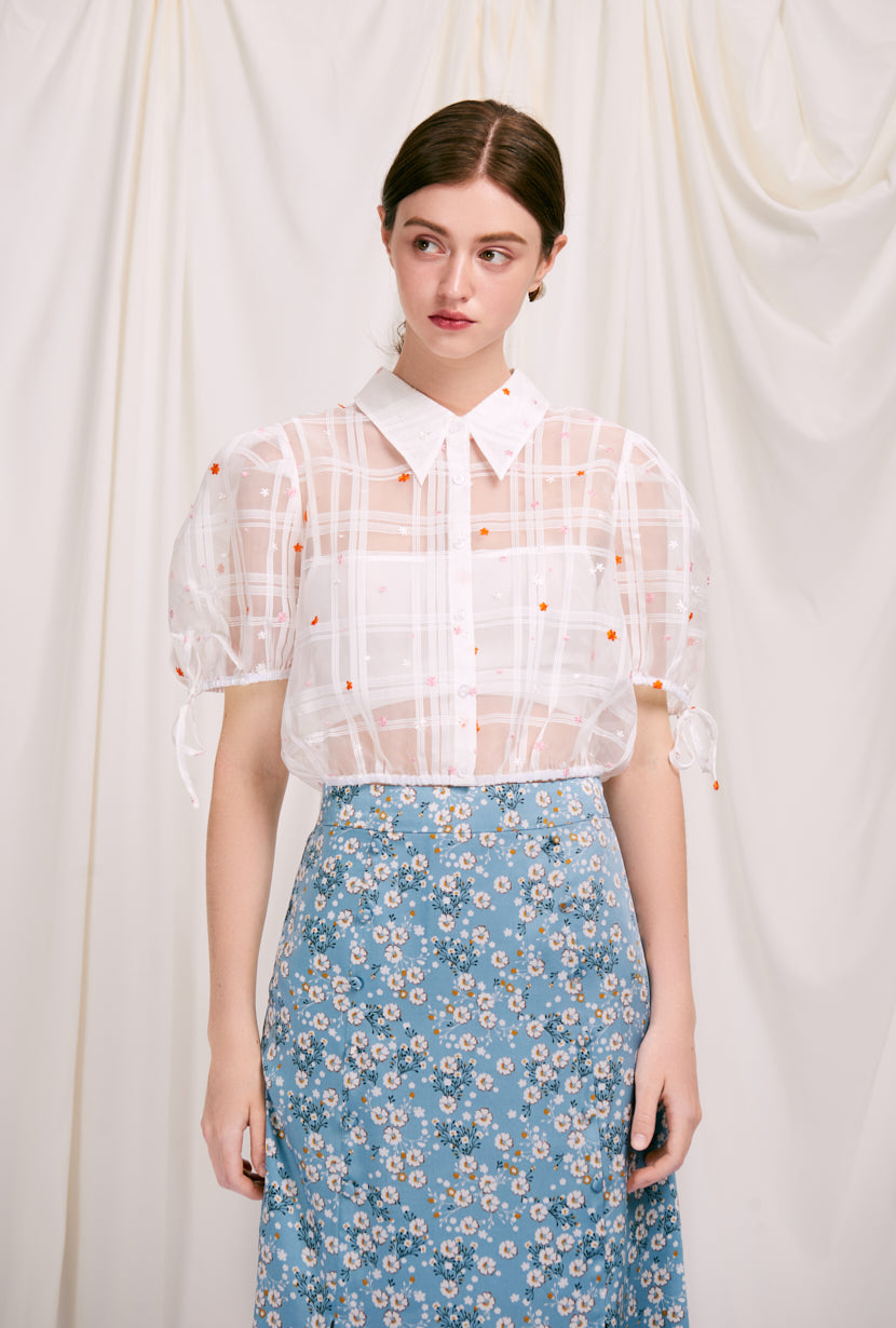 Penelope Top - Ivory - white embroidered crop blouse with puff sleeve and classic collar - Petite Studio NYC