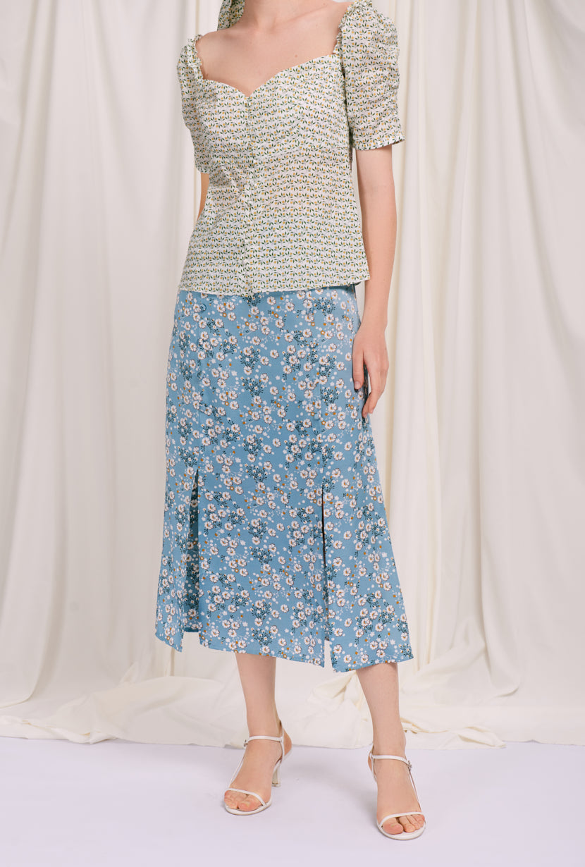 Nora Skirt - Blue Floral - maxi skirt with blue floral print -  Petite Studio NYC