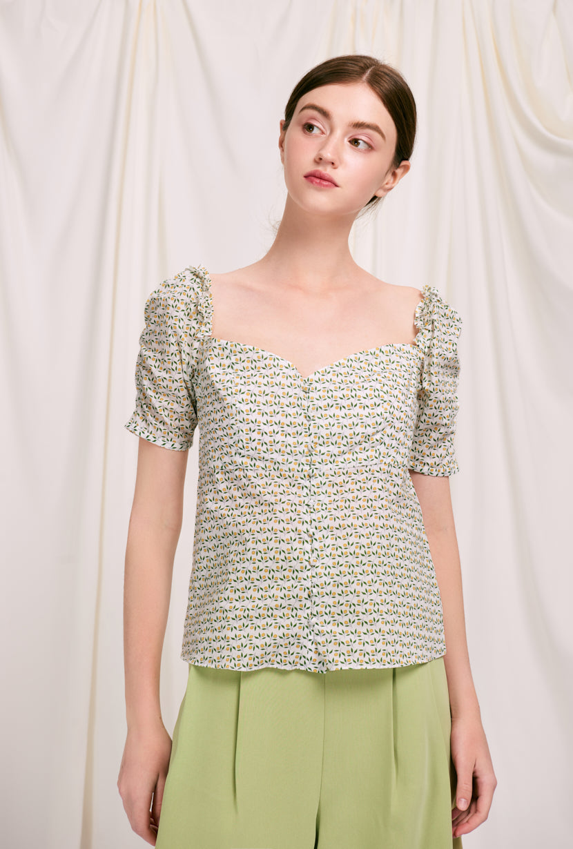 Houston Cotton Top - Lemon Tree - button down top with lemon print and sweet heart neckline - Petite studio NYC