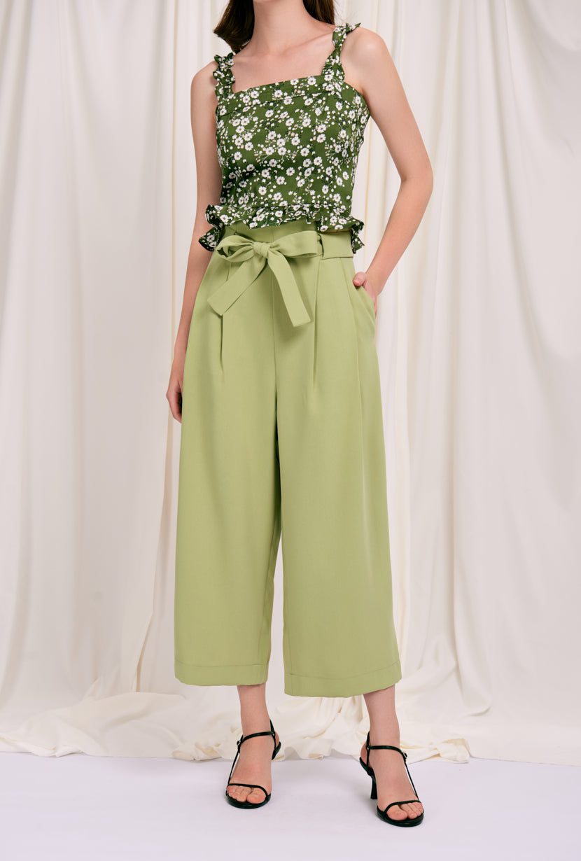 Fuschia Pants - Mustard - forest green wide leg pants with high paperbag waist - Petite Studio NYC