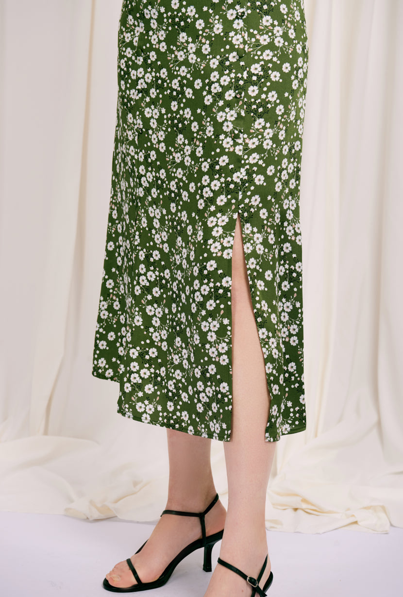 Nora Skirt - Green Floral - maxi skirt with green floral print -  Petite Studio NYC