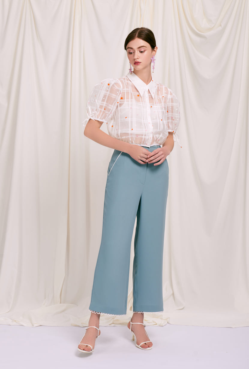 Augustine Pants  -  Dusty Blue - slim dusty blue pants with lace trimming at pocket sides and hem - Petite Studio NYC