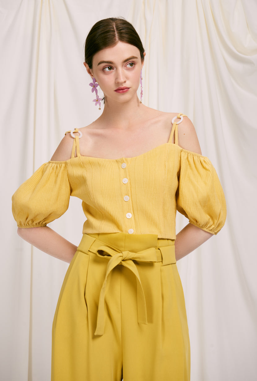 Amie Top - Lemon - lemon-colored button down off shoulder cropped top with adjustable shoulder straps, sweet heart neckline and puff short sleeve - Petite studio NYC