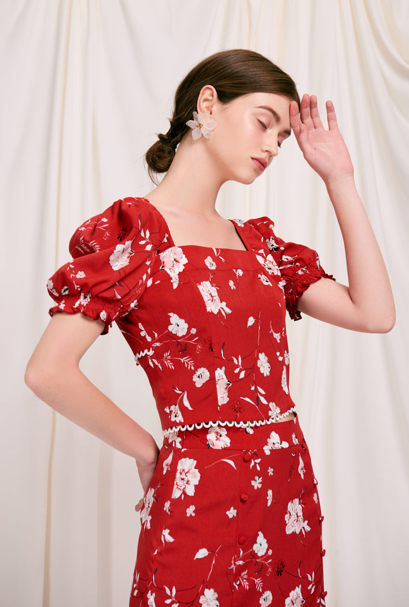 Emily Top - Red Blooms - red flora print square neck crop top with puff sleeve and ribbon closure at the back opening- Petite Studio NYC