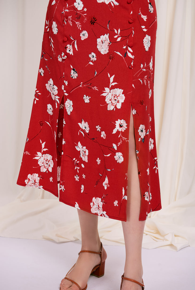 Nora Skirt -  Red Blooms - maxi skirt with green floral print -  Petite Studio NYC