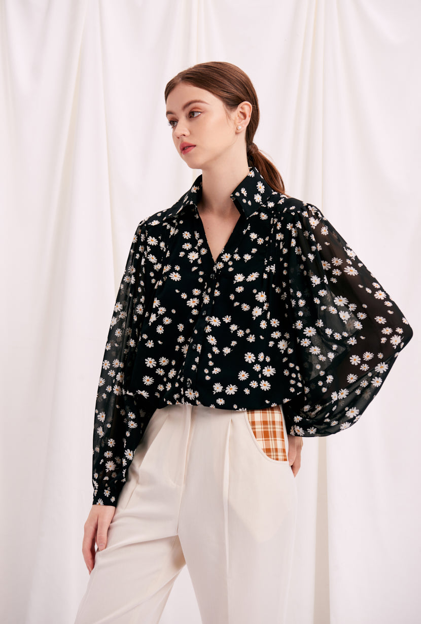 v neck top-daisy top-petite fashion-petite girls-Fall 2020-Ellie Top - Daisy-Petite Studio NYC