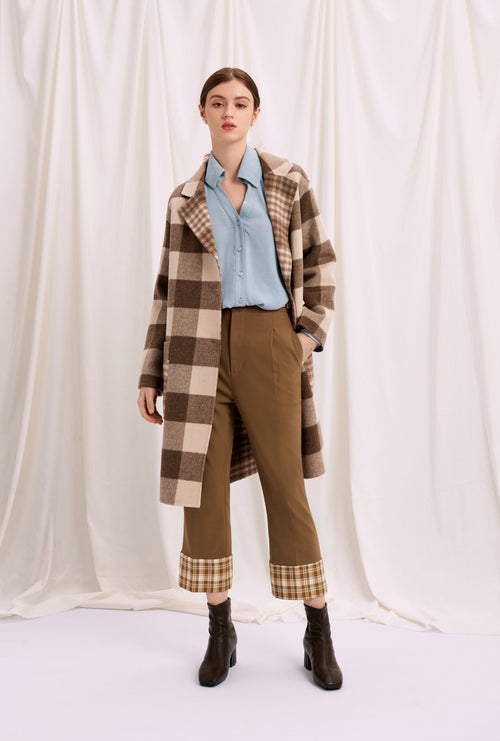 long coat-fall coat-petite fashion-petite girls-Fall 2020-Memphis Coat - Chocolate Plaid-Petite Studio NYC
