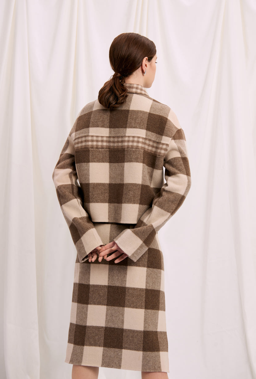 fall jacket-plaid jacket-petite fashion-petite girls-Fall 2020-Stockholm Jacket - Chocolate Plaid-Petite Studio NYC