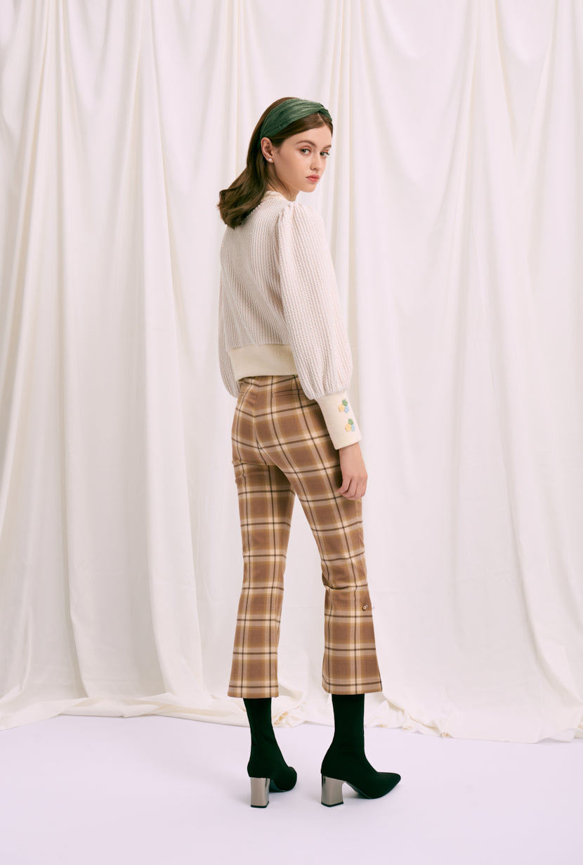 flare pants-bell bottoms pants-petite fashion-petite girls-Fall 2020-Buvette Pearl Pants - Plaid-Petite Studio NYC