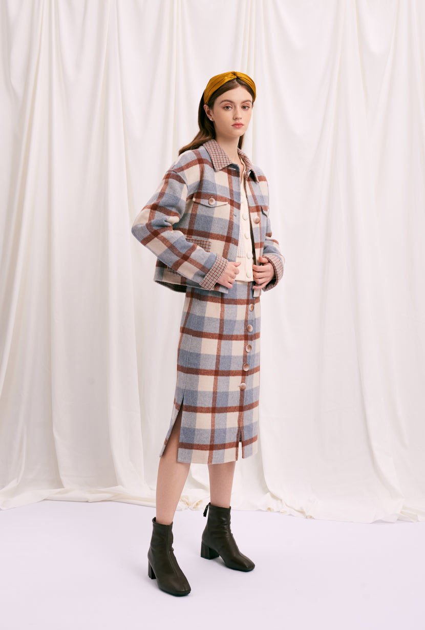 Stockholm Wool Jacket - Blue Plaid - Blue plaid oversized cropped jacket, two sided, front patch pocket detail - Petite Studio NYC