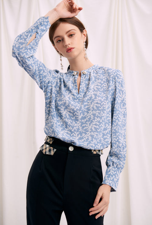silk blouse-light blue blouse-petite fashion-petite girls-Fall 2020-Buvette Pearl Blouse - Carnation-Petite Studio NYC