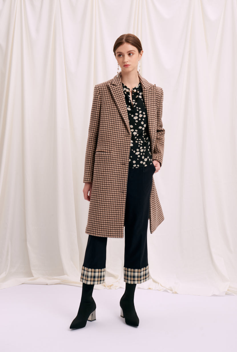 wool coat-women's winter coats-petite fashion-petite girls-Winter 2020-Brenna Wool Coat - Chocolate Plaid-Petite Studio NYC