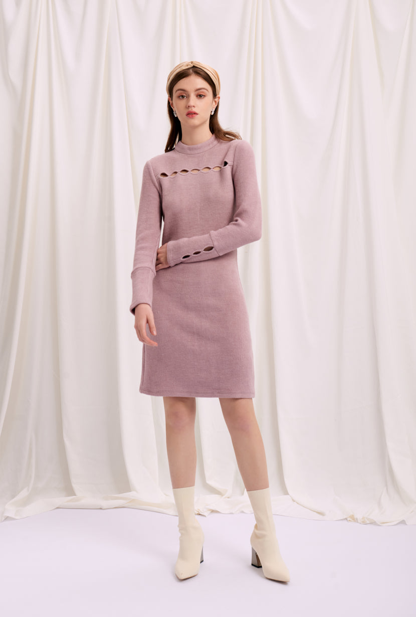 knit dress-mini dress-petite fashion-petite girls-Fall 2020-Willow Knit Dress - Mauve-Petite Studio NYC
