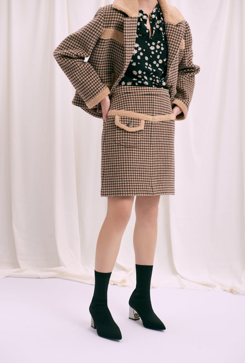 mini skirt -pink skirt-petite fashion-petite girls-Winter 2020-Claudia Wool Skirt - Chocolate plaid-Petite Studio NYC
