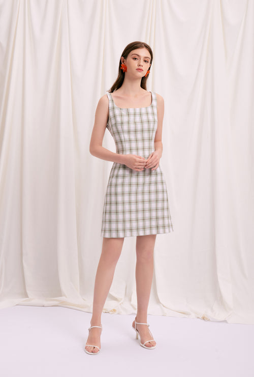 Isla Dress - Mint Gingham - Mint Gingham mini dress with back crossover strap - Petite studio NYC