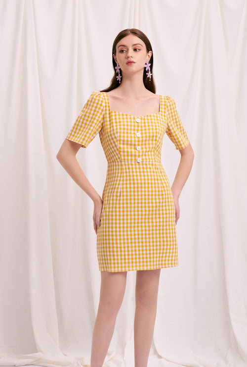 Lydia Dress - Yellow Gingham - Yellow Gingham mini dress with heart-shaped neckline - Petite studio NYC