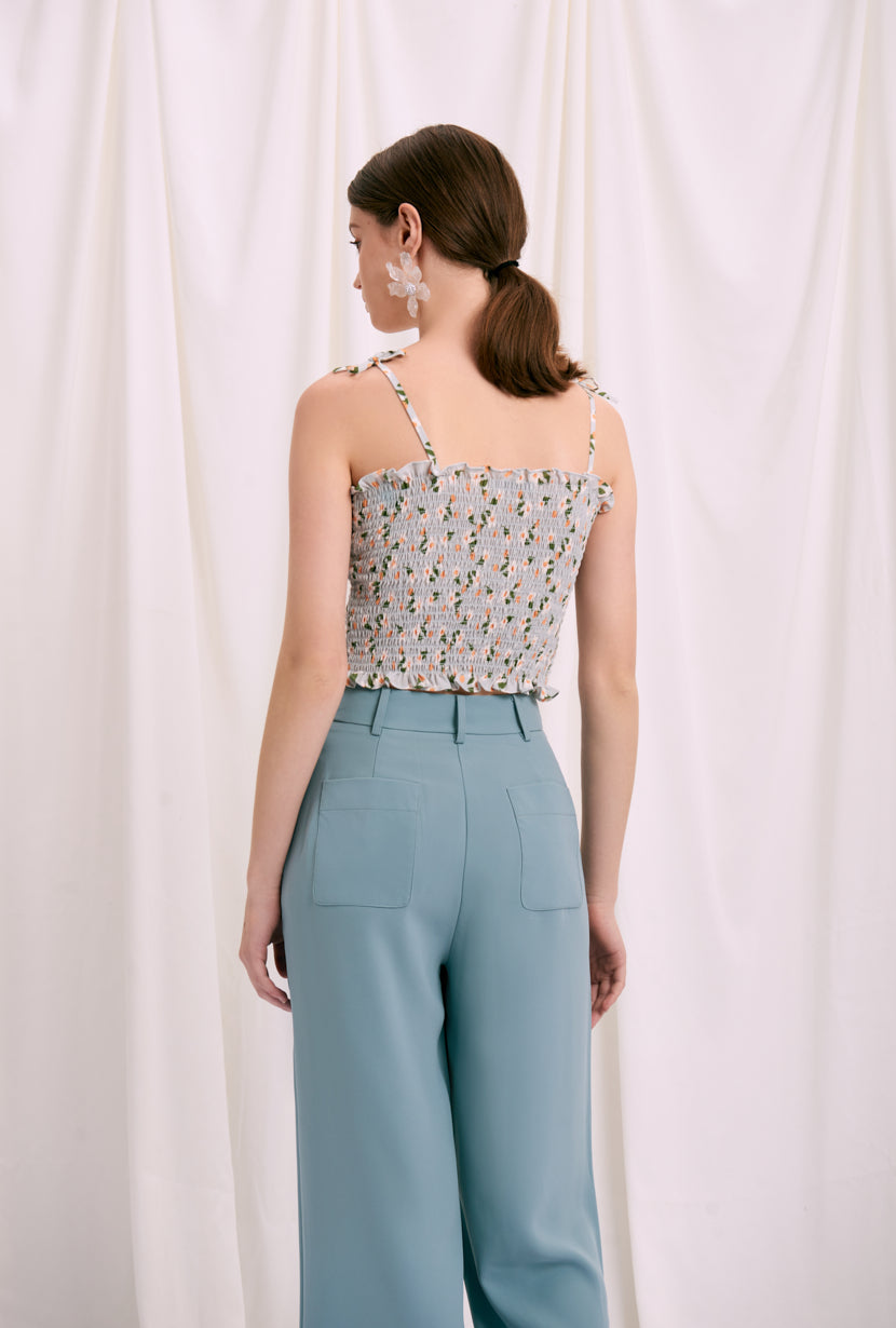 Dora Top - Sage Floral - Sage Floral top with spaghetti straps - Petite Studio NYC