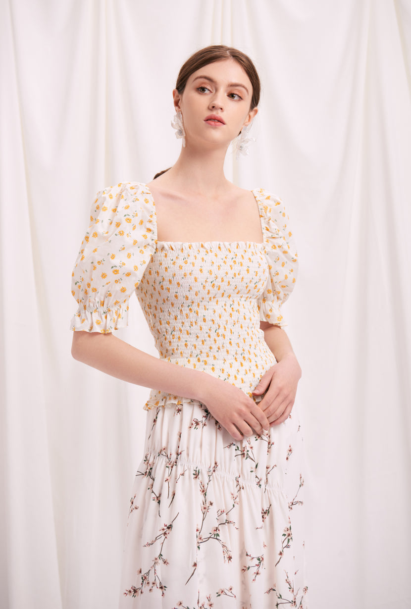 Tia Top - Daisy Print - Daisy printed cotton top - Petite Studio NYC