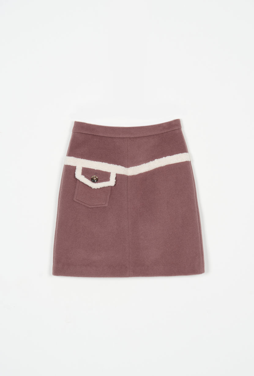 mini skirt -pink skirt-petite fashion-petite girls-Winter 2020-Claudia Wool Skirt - Dusty Rose-Petite Studio NYC