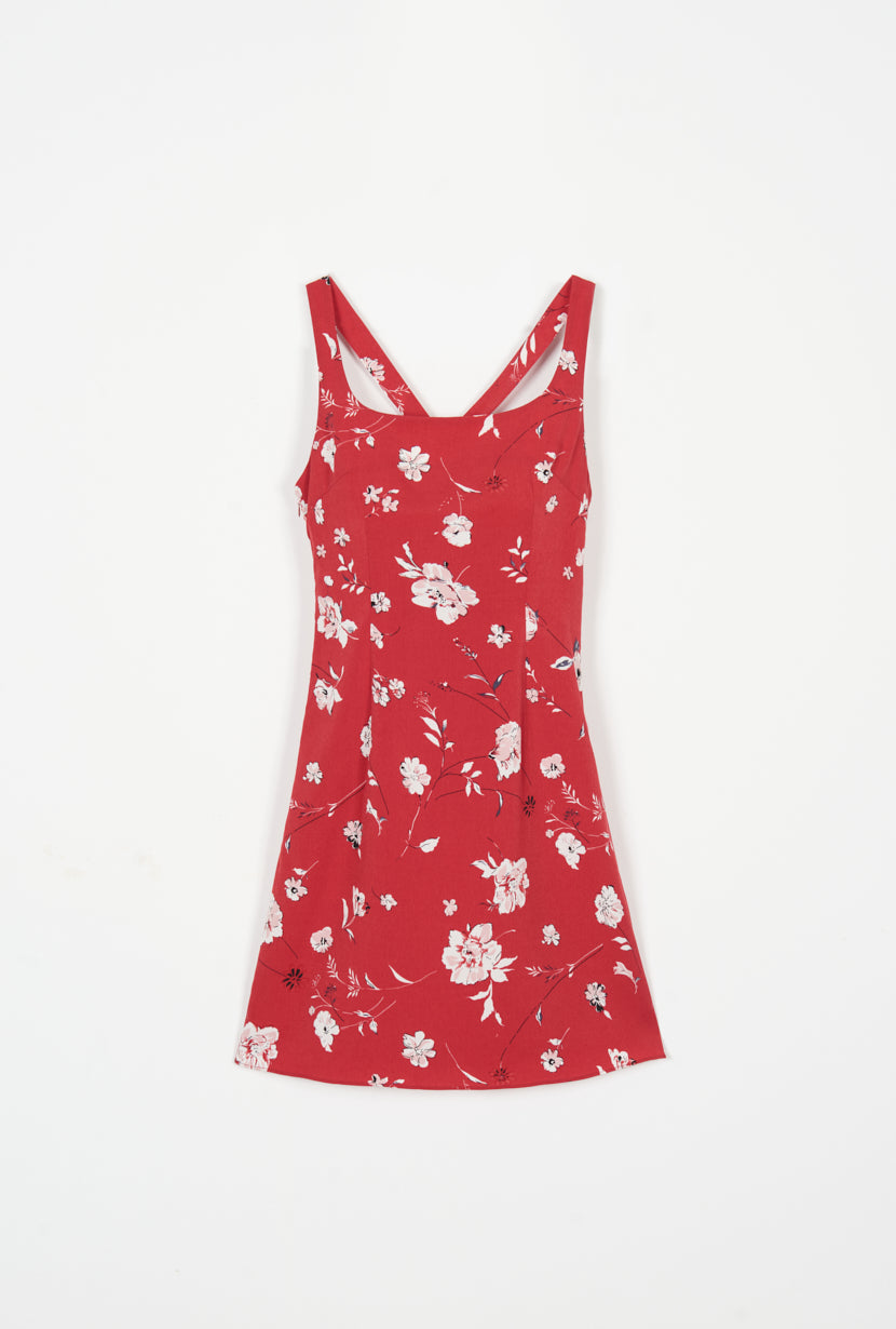 Isla Dress - Red Floral - Red Floral mini dress with back crossover strap - Petite studio NYC