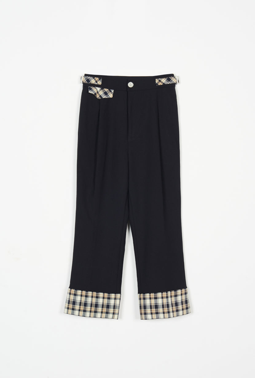 high waist pants-plaid pants-petite fashion-petite girls-Fall 2020-Myra Pants - Black-Petite Studio NYC