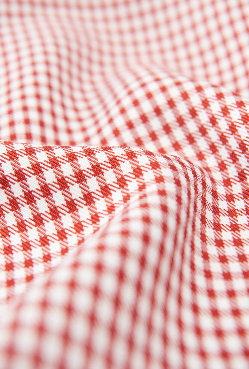 Isla Dress - Red Gingham -Red Gingham mini dress with back crossover strap - Petite studio NYC