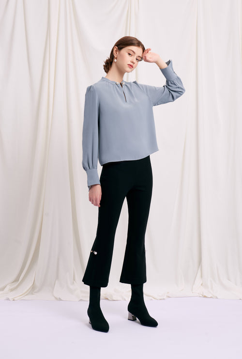 Buvette Pearl Blouse-Dusty Blue-pigeon blue pearl detailed long-sleeve blouse-Petite Studio NYC