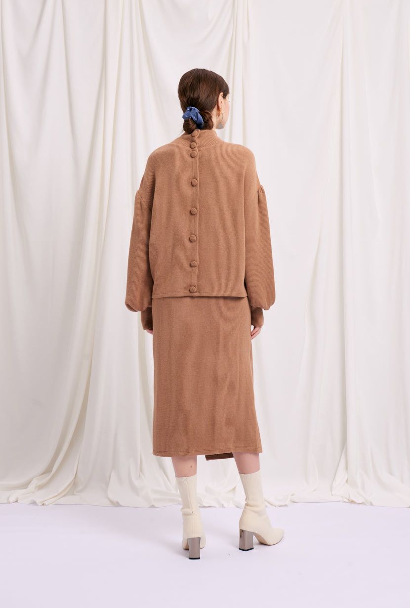 midi skirt-wrap skirt-petite fashion-petite girls-Winter 2020-Ellis Skirt  - Camel-Petite Studio NYC