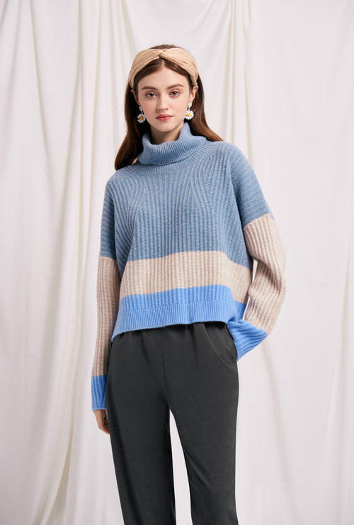 knit sweater-turtleneck sweater-petite fashion-petite girls-Winter 2020-Lena Wool Sweater - Sky-Petite Studio NYC