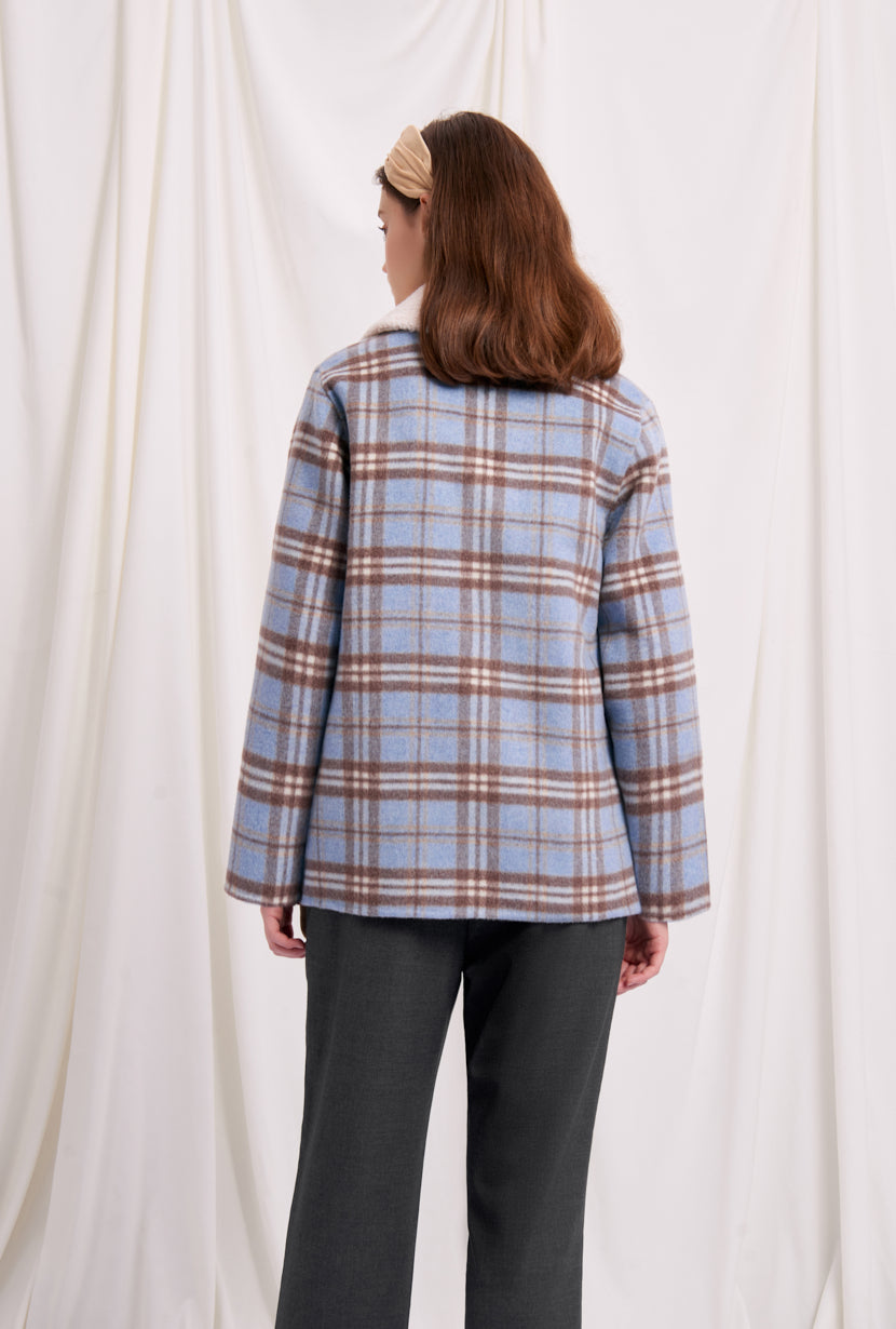 women's winter coats-winter jacket-petite fashion-petite girls-Winter 2020-Megan Wool Jacket - Blue Plaid-Petite Studio NYC