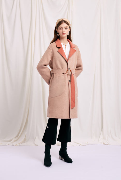 women's winter coats-red coat-petite fashion-petite girls-Winter 2020-Mila Reversible Wool Coat - Blush-Petite Studio NYC