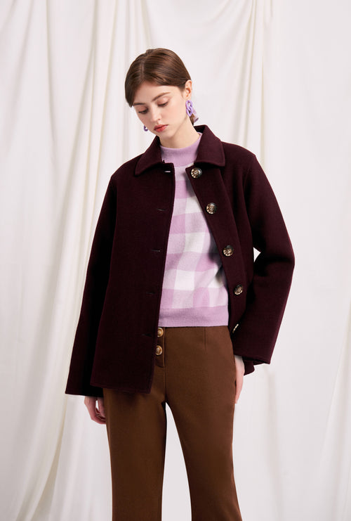 women's winter coats-winter jacket-petite fashion-petite girls-Winter 2020-Megan Wool Jacket - Plum-Petite Studio NYC