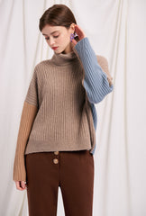 Averie Cashmere Sweater - Sky - Turtle neck cashmere brown and blue color combo oversized sweater - Petite Studio NYC