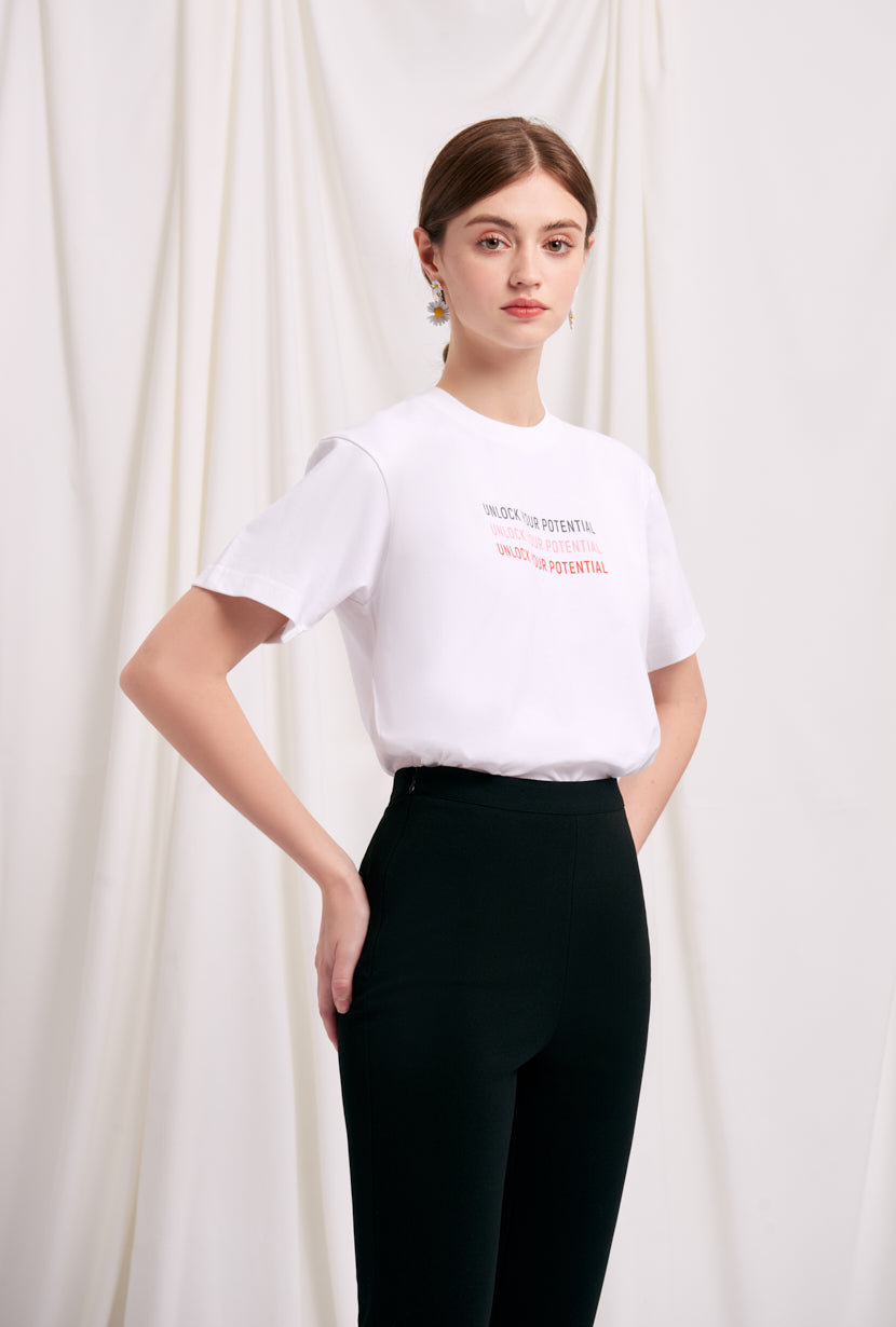 Vera Cotton T-Shirt-tee with Unlock Your Potential slogan at front chest-Petite studio NYC